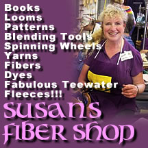 Susan's Fiber Shop - books, looms, patterns, tools, wheels, yarn and fleeces.