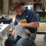 Vintage Fibers and one of his beautiful Angora rabbits.