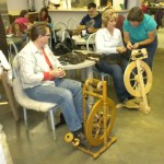 Patti Ruether teaching another section of Spinning 101.